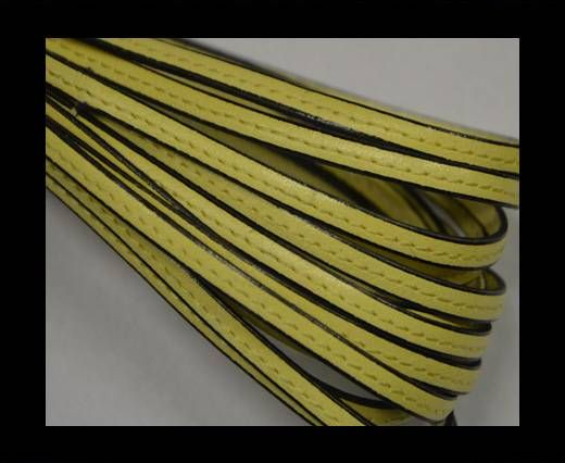 Flat leather with stitch - 5 mm - Light yellow