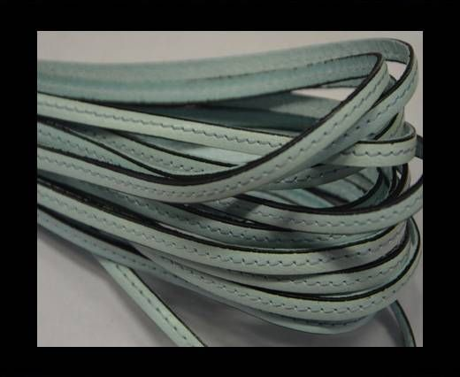 Flat leather with stitch - 5 mm - Mint