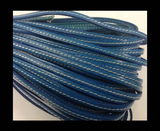 Buy Flat leather with stitch - 4 mm - light blue at wholesale price