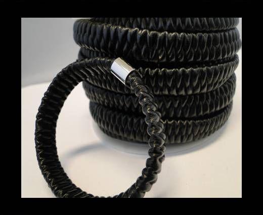 Cuero eco-nappa elástico plano-10mm -Negro