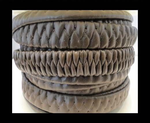 Cuero eco-nappa elástico plano- 10mm- Marrón Oscuro