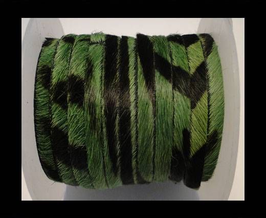 Hair-On Leather Flat-Green Zebra Print-20mm