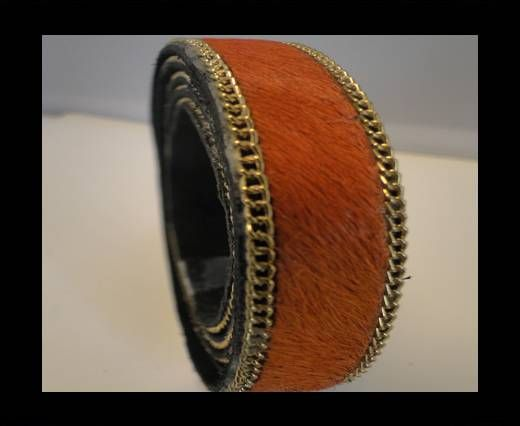 Hair-On Leather with Gold Chain-Dark Orange