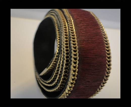 Hair-On Leather with Gold Chain-Maroon