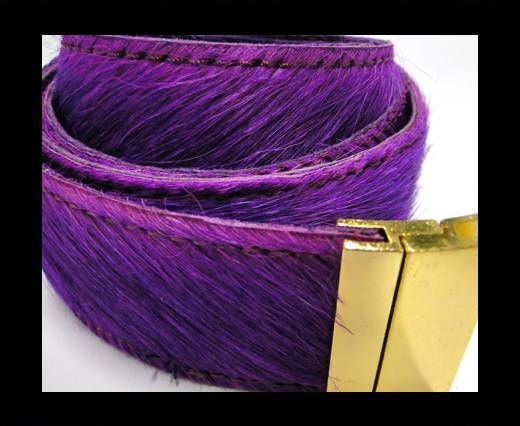 Hair-On Leather Belts-Purple -40mm