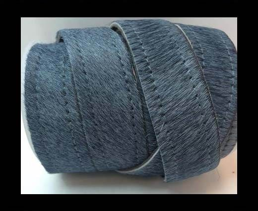 Hair-On Leather Flat-grey with stitches-20mm