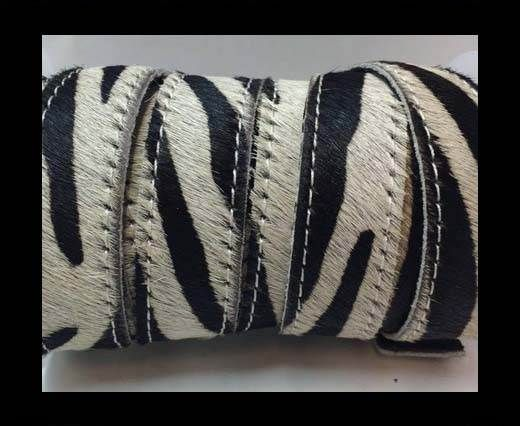Hair-On Leather Flat-zebra with stitches-20mm