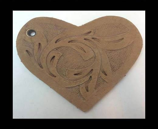 Heart 8cm - style 1 - Natural Leather Embossed