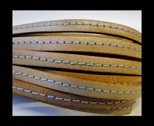 Flat Leather Stitched 5mm - Stitched Beige