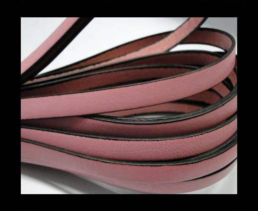 Flat Leather-Black Edges - Baby Pink