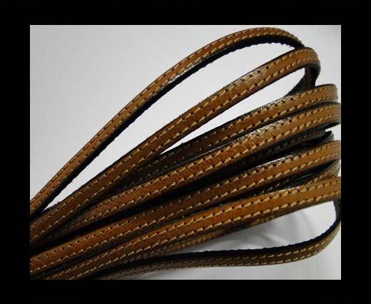 Flat leather - 5 mm - Double Stitched - Black edges - Ha