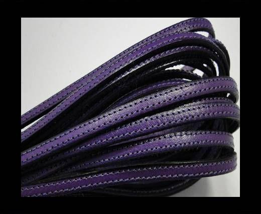 Flat leather - 5 mm - Double Stitched - Black edges - Pu