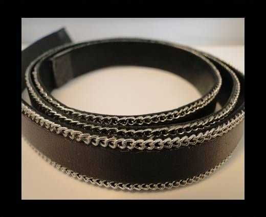 Flat Leather with Chain- Brown-10mm