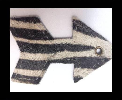 KC-Key Cord Arrow Shape 8cm zebra white hair-on
