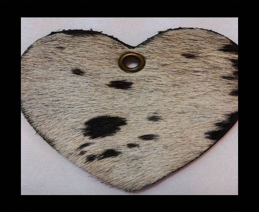 KC-Key Cord Heart Shape 4cm cow white and black hair-on