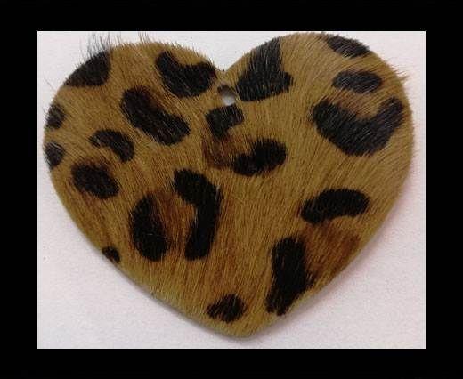 KC-Key Cord Heart Shape 4cm leopard