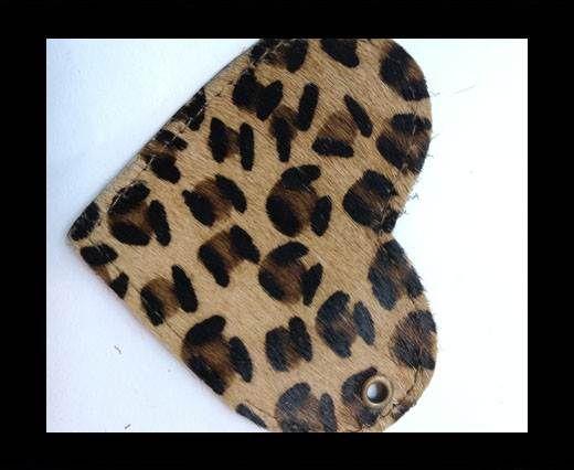 KC-Key Cord Heart Shape 8cm leopard hair-on