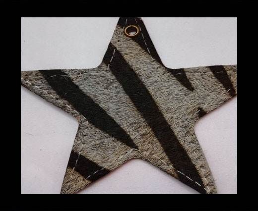 KC-Key Cord Star Shape 8cm zebra grey hair-on