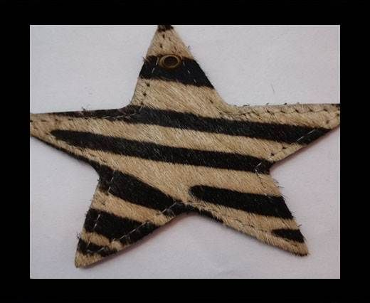 KC-Key Cord Star Shape 8cm zebra light brown hair-on