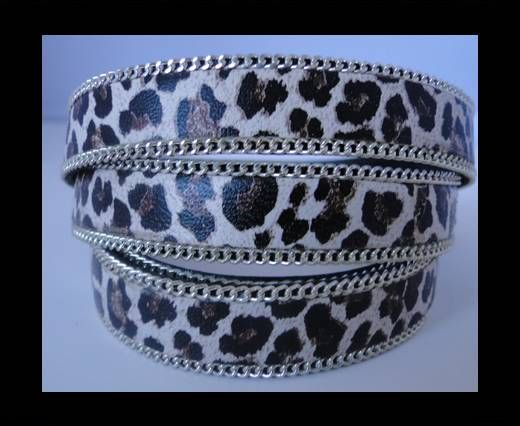 Leather with Leopard Print -Black