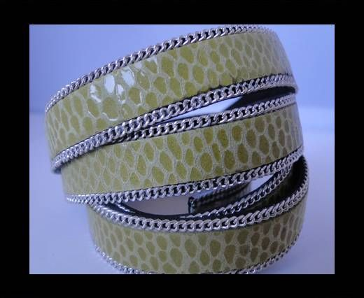 Leather with snake Print -Lime