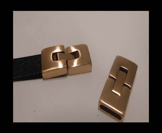 Stainless Steel Snap Lock Clasp - MGST-14-10*2,5mm, Rose Gold