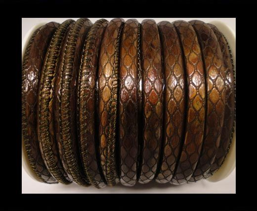 Cuero de nappa de alta calidad -Estilo Serpiente- Café Oblongo-4mm