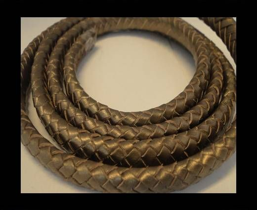 Buy Oval Braided Leather Cord - 10mm-Metallic Tamba at wholesale price