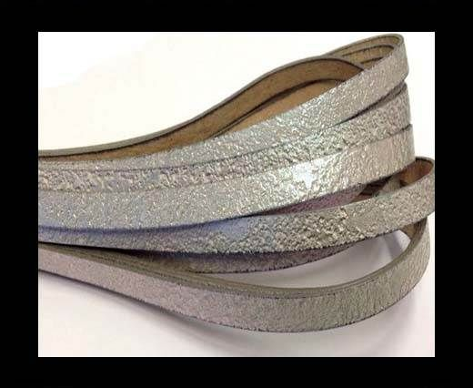 Italian Flat Leather 10mm by 2mm-BN2437 Argento