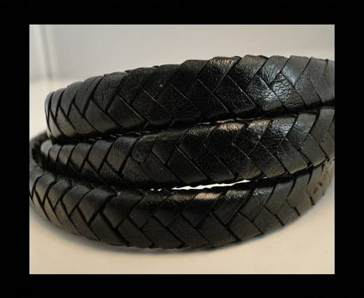 Oval Braided Leather Cord - SE-Black