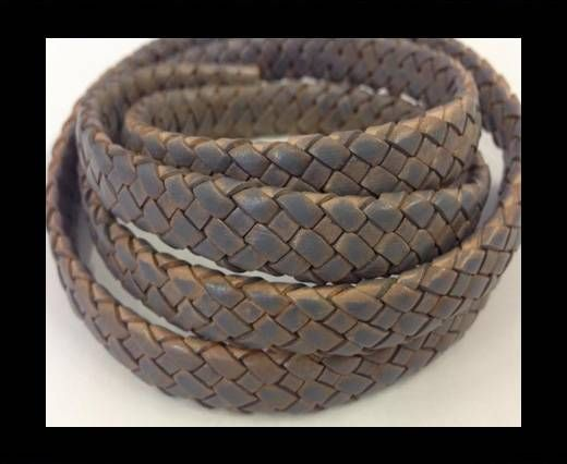Oval Braided Leather Cord - SE-PB-grey