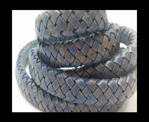 Oval Braided Leather Cord - SE PB Blue