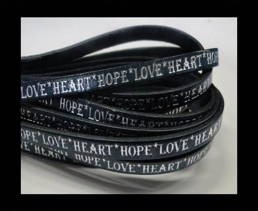 Real Flat Leather-5MM-Hope Love Heart style-Blue