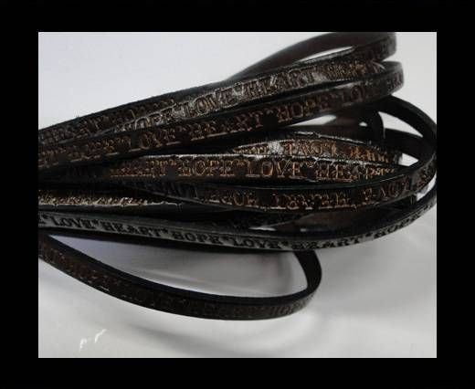 Real Flat Leather-5MM-Hope Love Heart style-Dark Brown