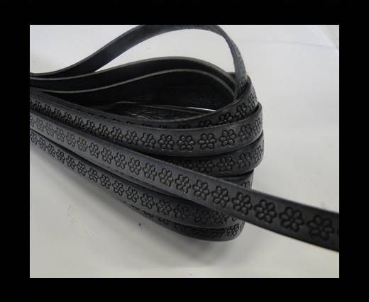 Real Flat Leather-10MM-Flower pattern -Grey