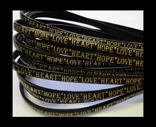Real Flat Leather-5MM-Hope Love Heart style-Black-Gold