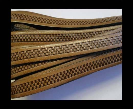 Real Flat Leather-10MM-Bricks style- Brown