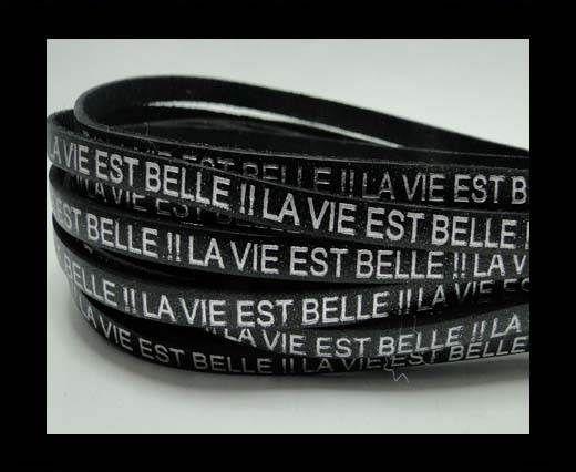 Real Flat Leather-LA VIE EST BELLE-Silver-Black
