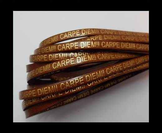 Real Flat Leather-CARPIDIEM-Brown with gold