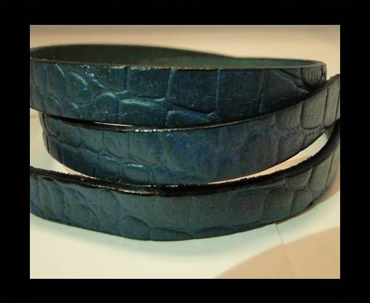 Real Leather Croco Print - Sky Blue-10mm