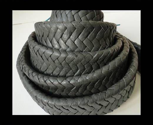 Real Nappa Flat Woven Cords - Dark Grey - 25mm