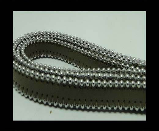 Real Nappa Flat Leather with steel balls chains - 10mm - light t