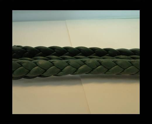 Real Nappa Leather -Flat-Braided-Military Green-10mm
