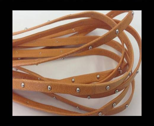 Real Nappa Leather with studs - 5mm - Apricot