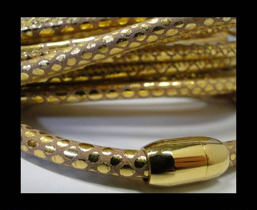 Real Nappa Round-Snake Skin PInk Gold-6mm