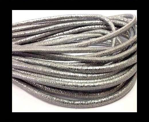 Round stitched nappa leather cord Crack Dark Silver-4mm