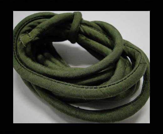 Cordones de seda rellenos de algodón - 4mm - Verde Savia