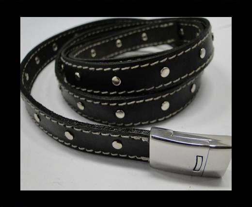 Real Vegetable Tanned Leather with stitch -14mm-Black