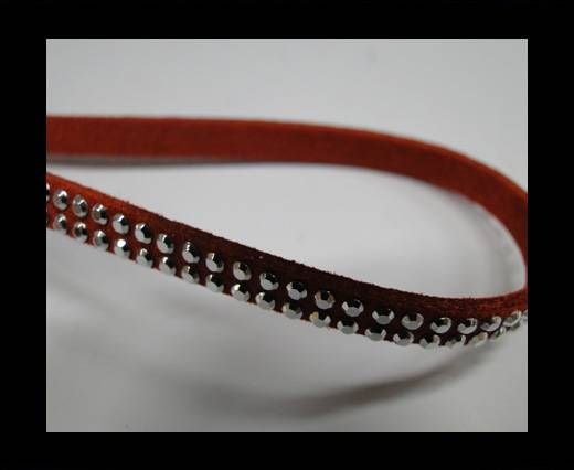 Suede Cord with studs-5mm-Silver-Red