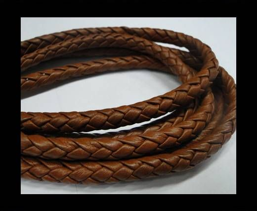 Round Braided Leather Cord-TERRACOTTA -8mm
